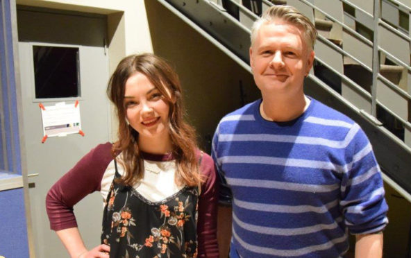 Honeyblood singer Stina Tweeddale  with Rip It Up curator Vic Galloway