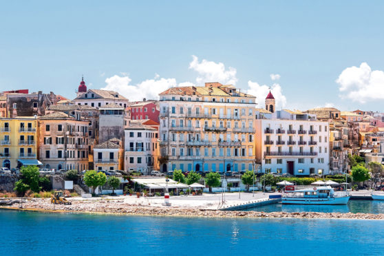 Corfu Town, the capital of the island of Kerkyra, or Corfu, seen from the sea