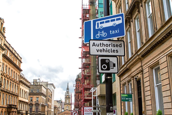 Bus lane on West George St, Glasgow
