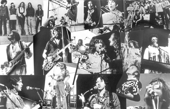 Among the performers were: Top row: The Fish; Richie Havens; Jimi Hendrix; Joan Baez; Sha Na Na. Middle row: Santana; Alvin Lee of Ten Years After; Mike Shrieve of Santana; David Crosby and Graham Nash; Roger Daltrey; Sly and the Family Stone. Bottom row: The Incredible String Band; Joe Cocker; Arlo Guthrie; Steven Stills; John Sebastian.