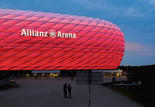 Exterior view of The Allianz Arena, a football stadium located in the district of Fröttmaning, north of Munich.