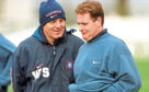 Rangers manager Walter Smith (left) chats to Paul Gascoigne at training, 1998