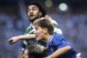 Celtic's Paul Elliott (top) outjumps Richard Gough and Gary Stevens