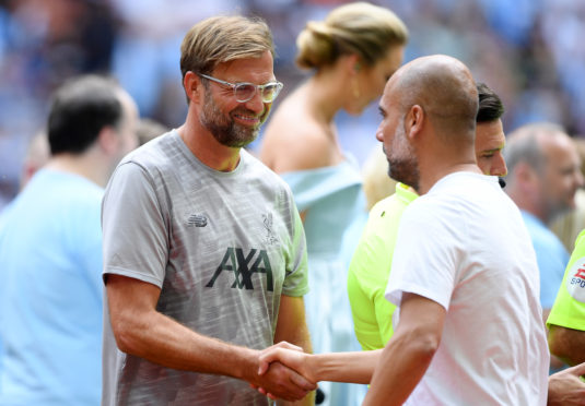 Jurgen Klopp and Pep Guardiola were all smiles at Wembley last Sunday. Now the real work has started