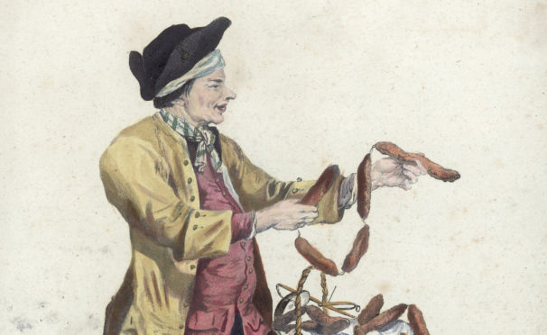 A 1775 copper etching of a salami seller by Carl Conti