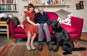 Jeanette and Jon with Lenny, the Dementia Dog that has changed their lives