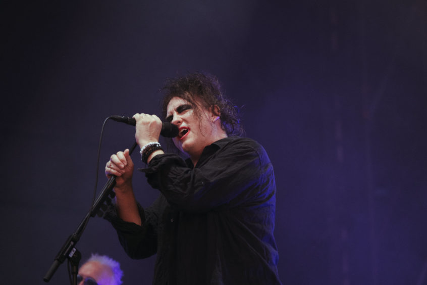 The Cure on stage in Bellahouston Park