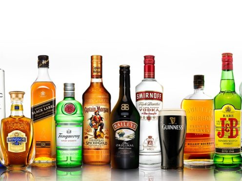 An array of leading drinks brands by Diaego.