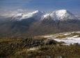 The popular mountain Ben Starav, 1,078m, rises in the centre amid the peaks above Glen Etive, Argyll