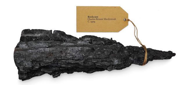 One of the pieces of charred debris from the fire that was sent to artists as part of the Ash to Art project