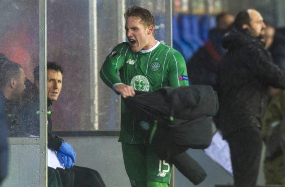 Celtic's Kris Commons vents his frustration as he is substituted against Molde in 2015
