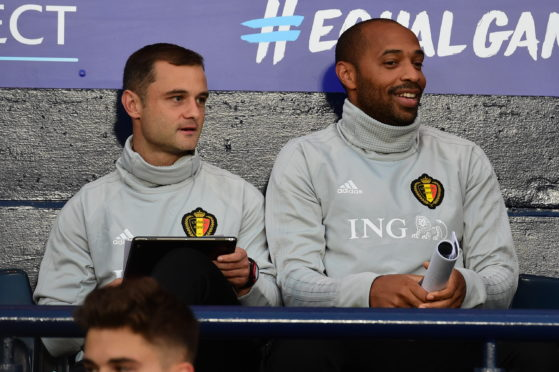 Shaun Maloney alongside his fellow Belgium backroom staff member, Thierry Henry