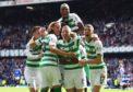 Celebrations for Celtic after second goal against Rangers