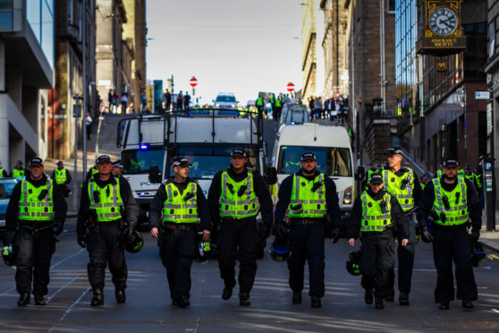 Police on duty at yesterday's march