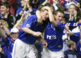 Jorg Albertz (left) celebrating with Barry Ferguson after scoring against Bayern Munich in the Champions League  at Ibrox