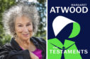 Margaret Atwood with the front cover of her book, The Testaments