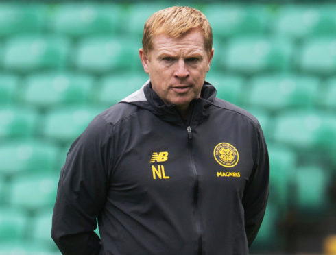 Celtic manager Neil Lennon during a training session at Celtic Park, Glasgow, Scotland, on August 28, 2019.