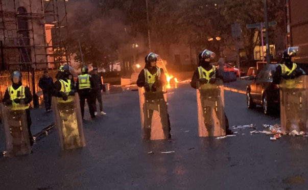 Trouble flared following a Irish Unity march and counter protest in Glasgow on August 30