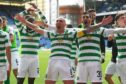 Celtic captain Scott Brown and his team-mates celebrate after beating Rangers 2-0 at Ibrox last Sunday