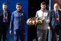 James Tavernier and Steven Gerrard carry the wreath