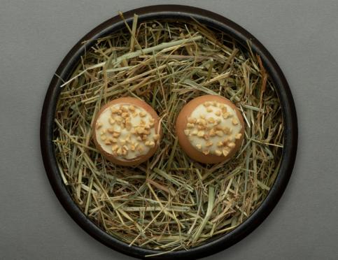 Second on the ten-course menu is the unique Golden Egg - Duck Liver Parfait, Yellow Peach Comote, Brioche Espuma.