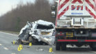 Yvonne Blackman's  car after David Shields truck smashed into her. He was caught on camera checking his phone prior to a fatal crash and was jailed for five years.