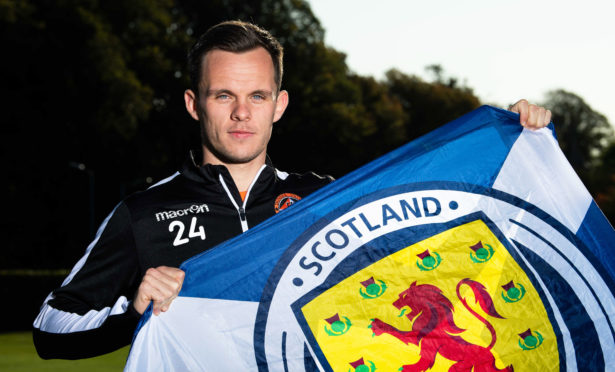 Dundee United's Lawrence Shankland celebrates his call up to the Scotland squad.