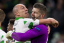 Celtic's Fraser Forster and Scott Brown celebrate at full time after the win over Lazio