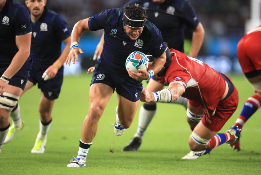 Scotland's George Turner scores his side's fifth try