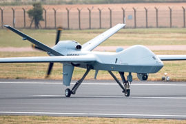 A remotely piloted drone lands at RAF Fairford in Gloucestershire