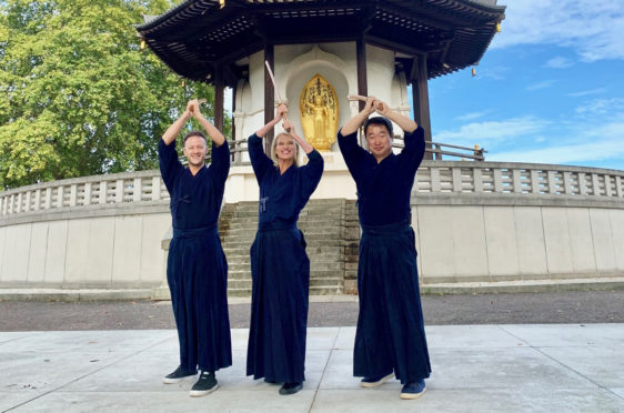 Anneka Rice and pro partner Kevin Clifton, left with instructor training for Kill Bill-inspired number.