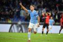 Ciro Immobile of SS Lazio celebrates a second goal against Rennes