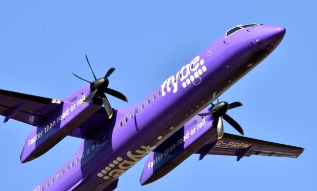A FlyBe flight takes off from Aberdeen