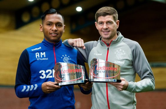 Rangers' Alfredo Morelos (L) and manager Steven Gerrard pictured after being awarded with the Ladbrokes Premiership Player and Manager of the Month award for September