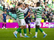 Celtic's Mohammed Elyounoussi celebrates with Boli Bolignoli after scoring to make it 6-0