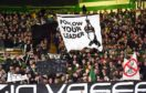 A banner depicting hanged Italian dictator Benito Mussolini is displayed by home supporters during Thursday's Europa League match at Celtic Park
