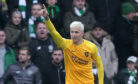 Livingston's Lyndon Dykes celebrates scoring their second goal against Celtic