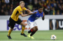 Young Boys' Frederik Soerensen, left, and Glasgow's Alfredo Morelos in action
