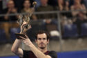 Andy Murray lifts the trophy after winning the European Open