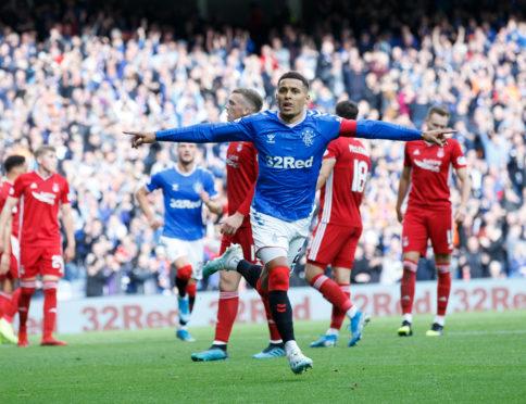 Rangers' James Tavernier celebrates scoring against Aberdeen