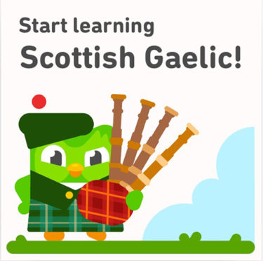 Duolingo phone app with the new Scottish Gaelic course which will be released on on St Andrew's Day.