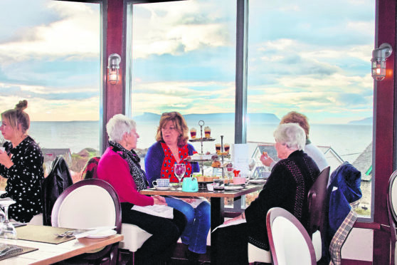 The West Highland Hotel's Terrace offers delicious and tempting scones and cakes with an equally delicious view to the isles