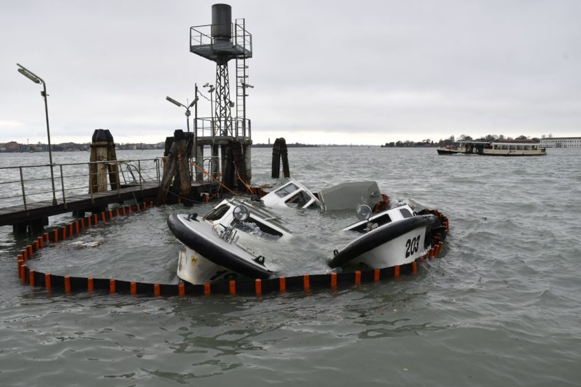 Partially submerged ferry boats