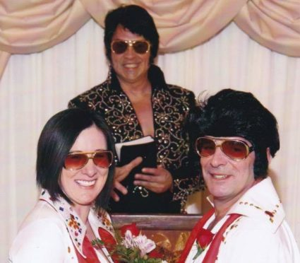 Andy Jarvis and wife Morag renew wedding vows in Las Vegas in 2013.