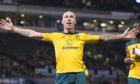 Celtic captain Scott Brown celebrates after scoring his second goal in yesterday's semi-final
