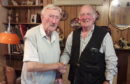 Jimmy Johnstone (left), 98, meeting with Sandy Petrie (right) the son of his former comrade, Bert Petrie
