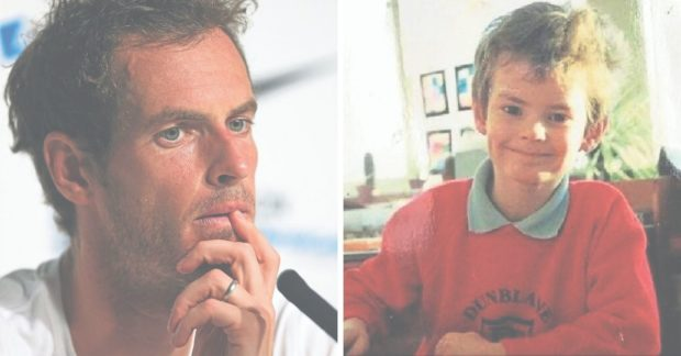 Andy Murray as a child at Dunblane Primary School (r) and today (l).