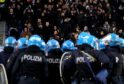 Police in riot gear stand guard during Lazio's defeat to Eintracht Frankfurt last season at Stadio Olimpico, which Celtic visit on Thursday night