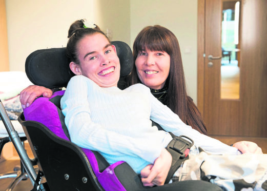 Leona Davidson with mum Angela, Leona has an extremely rare genetic neurological condition called Pantothenate Kinase-Associated Neurodegeneration (PKAN) Disease she attends the The Pamper Suite at Prince and Princess of Wales Hospice in Belahouston Park Glasgow.