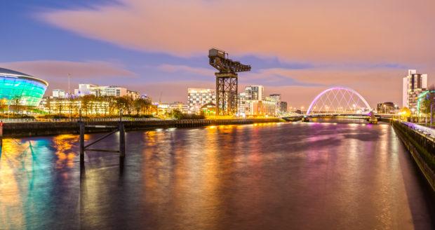 Glasgow skyline at night.